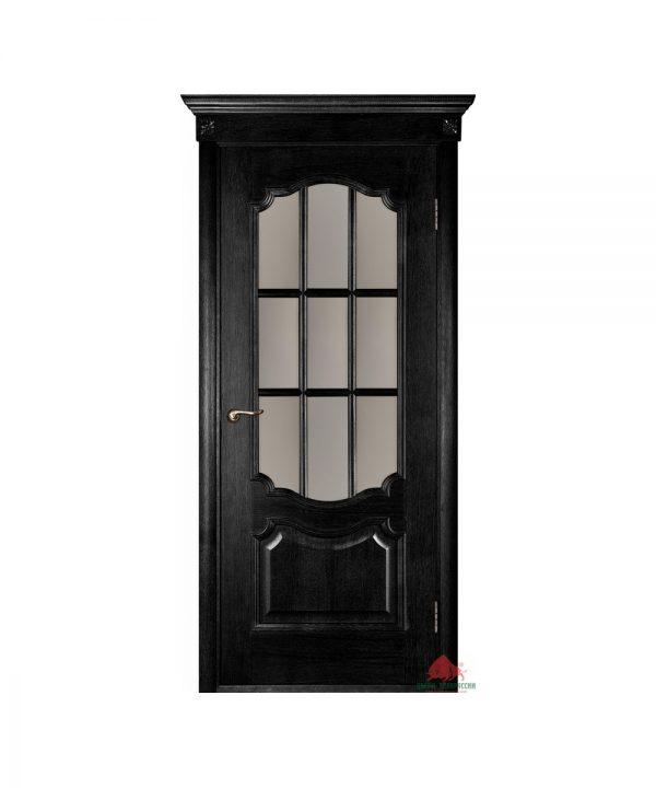 Межкомнатная дверь Престиж черный ясень ПО (с решеткой)