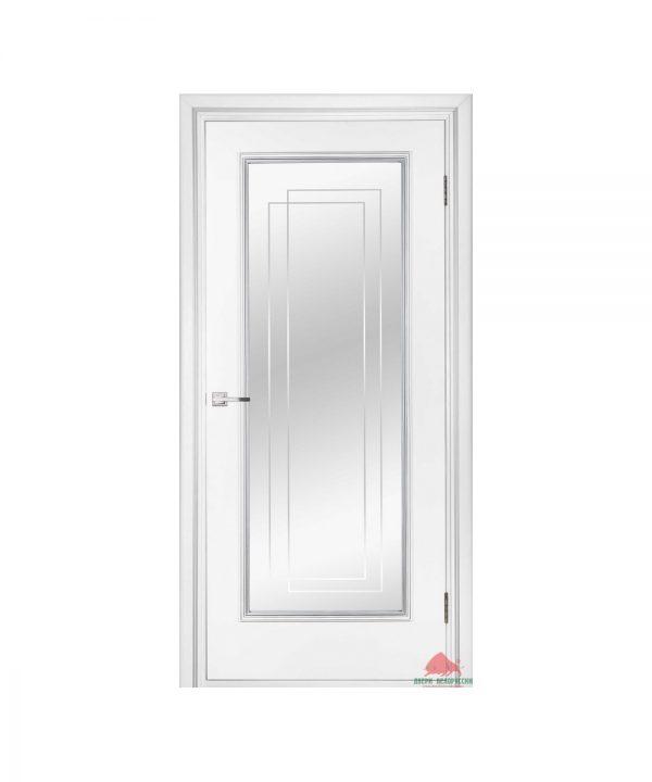 Межкомнатная дверь Триумф белый лак ПО (с зеркальным триплексом)