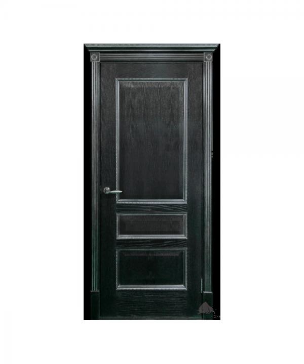 Межкомнатная дверь Вена черная патина серебро ПГ