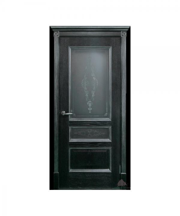 Межкомнатная дверь Вена черная патина серебро ПО