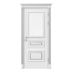 """Дверное полотно """"Rossi"""" со стеклом рис.3, белый мат"""