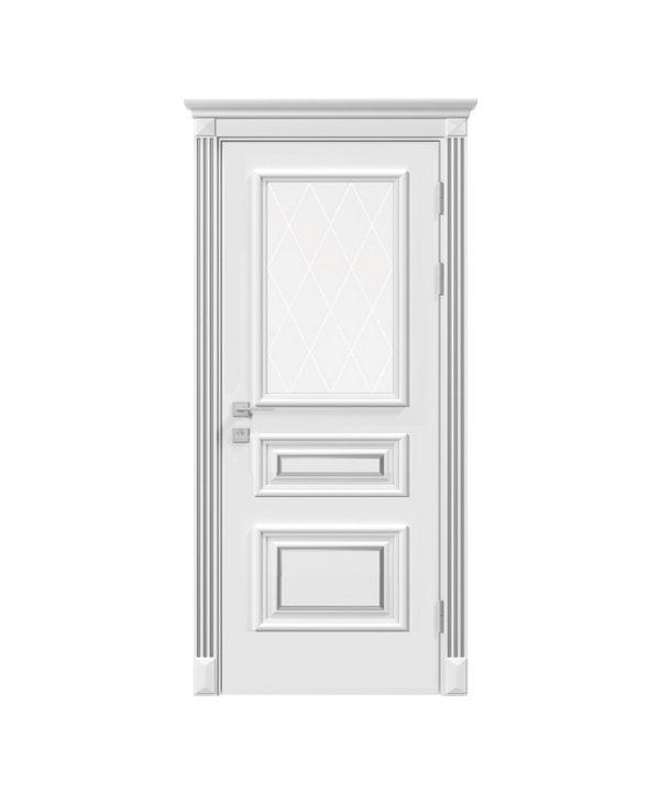 Дверное полотно «Rossi» со стеклом рис.3, белый мат,патина