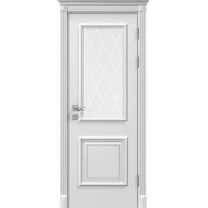 """Дверное полотно """"Laura"""" со стеклом рис.3, белый мат"""