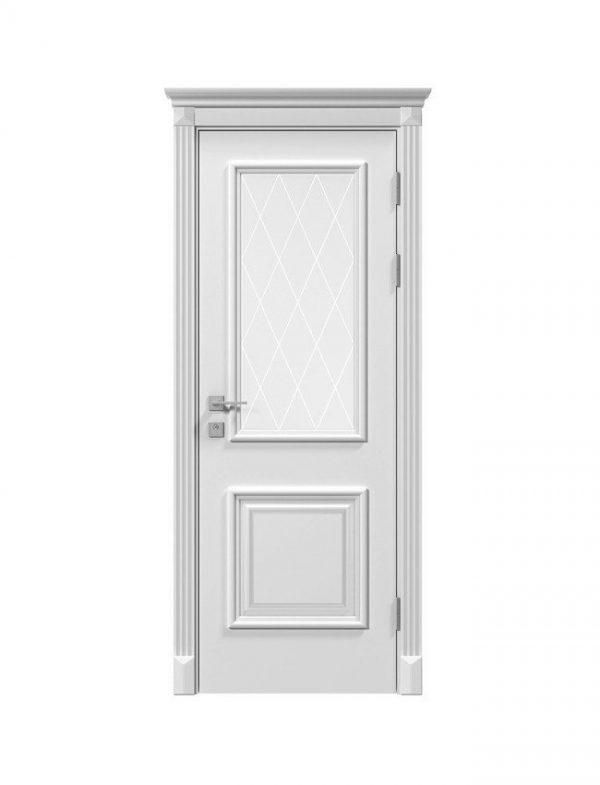 """Дверное полотно """"Laura"""" со стеклом, белый мат,патина"""