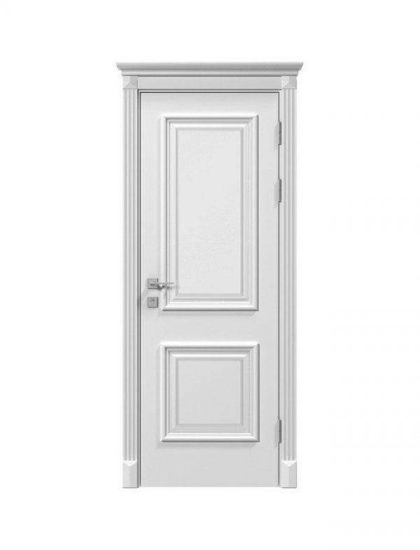 Дверное полотно «Laura» глухое, белый мат+патина